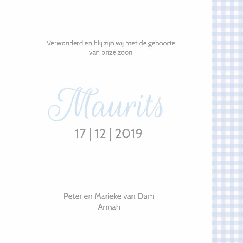 Geboortekaartje Maurits kroon LW 3