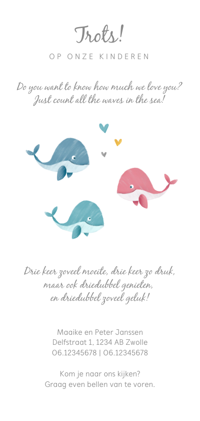 Geboortekaartje meerling met schattige walvisjes achterkant