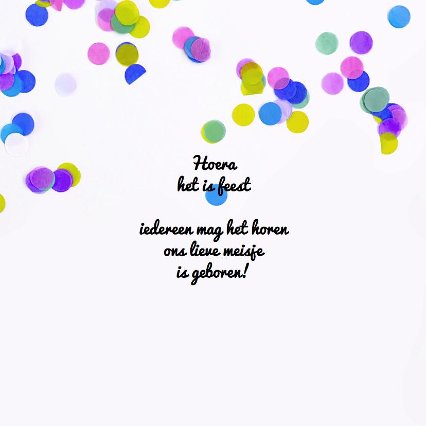 Geboortekaartje meid confetti 2