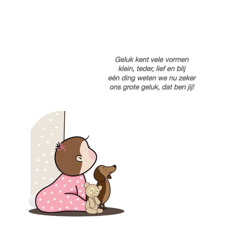 Geboortekaartje meisje bij deur 2