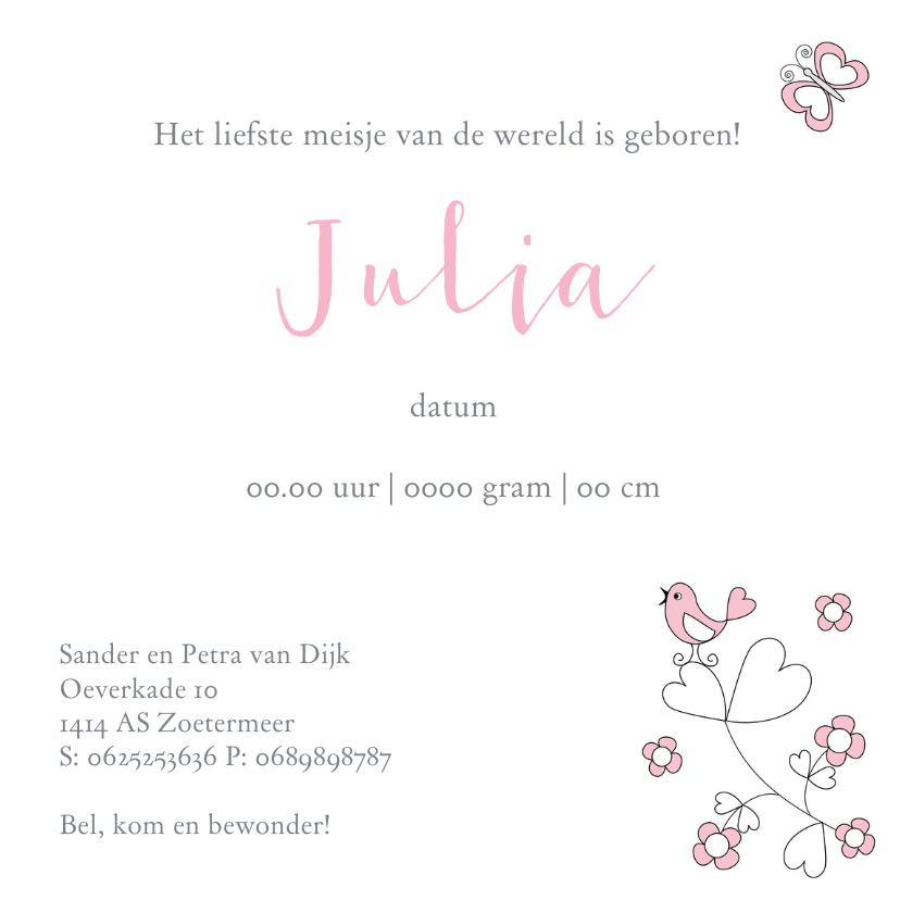 Geboortekaartje meisje bloemen 3