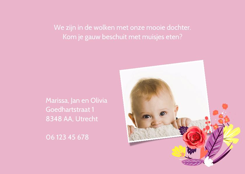 Geboortekaartje meisje bloemenkrans 3