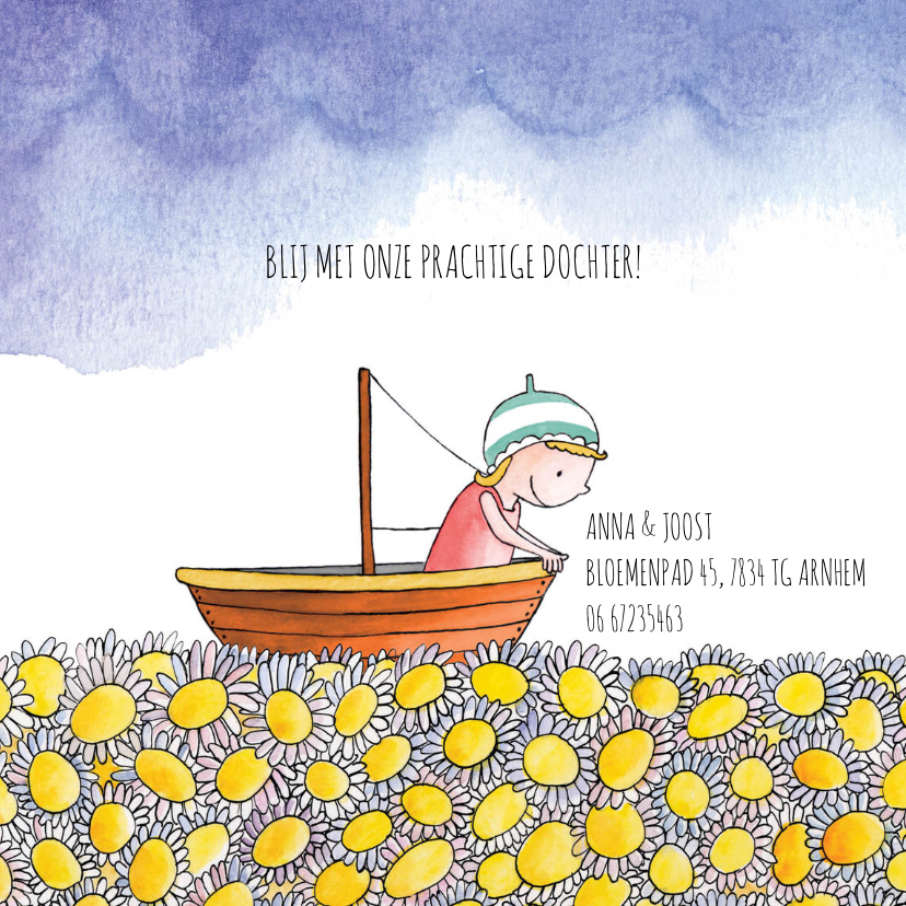 Geboortekaartje meisje bootje bloemenzee 2