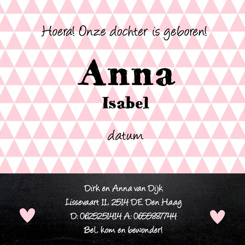 Geboortekaartje meisje foto hartje krijtbord 3
