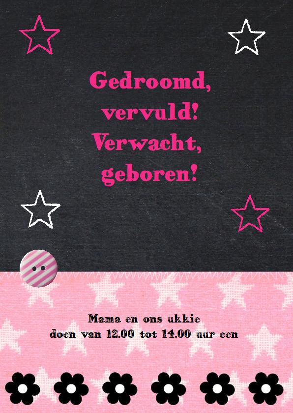 Geboortekaartje meisje foto krijtbord uiltje 2