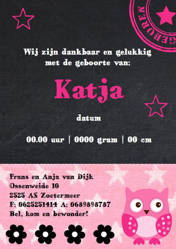 Geboortekaartje meisje foto krijtbord uiltje 3