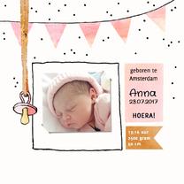 Geboortekaartjes - geboortekaartje meisje foto speen
