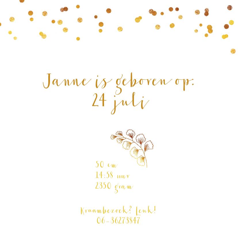 Geboortekaartje meisje goud takje confetti 3
