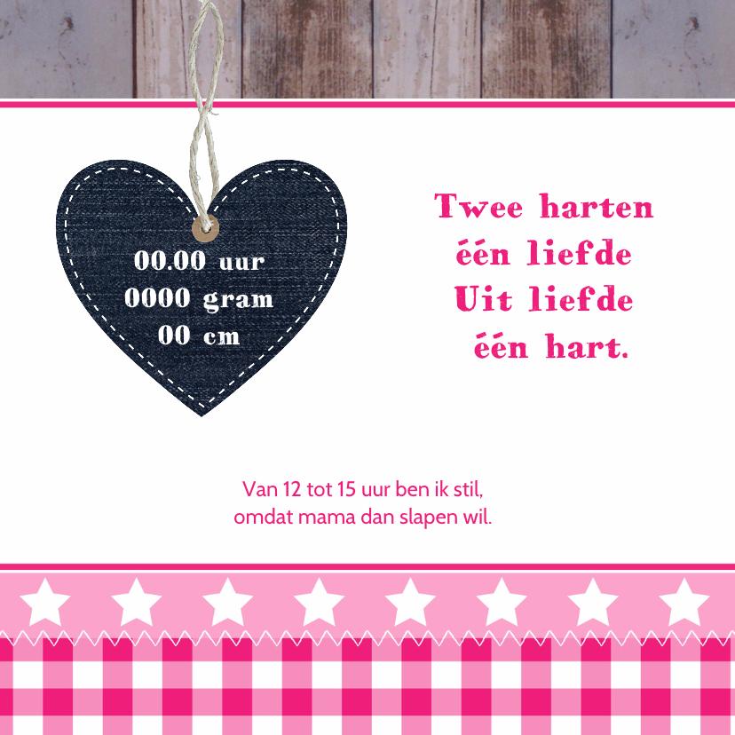 Geboortekaartje meisje hart hout 2
