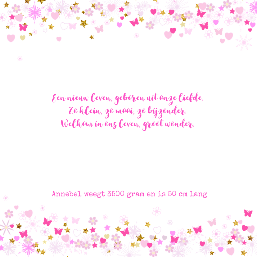 Geboortekaartje meisje hartjes bloemen vlinders en sterren 2