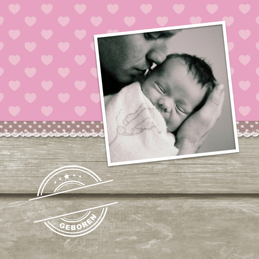 Geboortekaartje Meisje Hout 1LS3 2