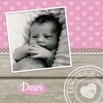 Geboortekaartjes - Geboortekaartje Meisje Hout 1LS3