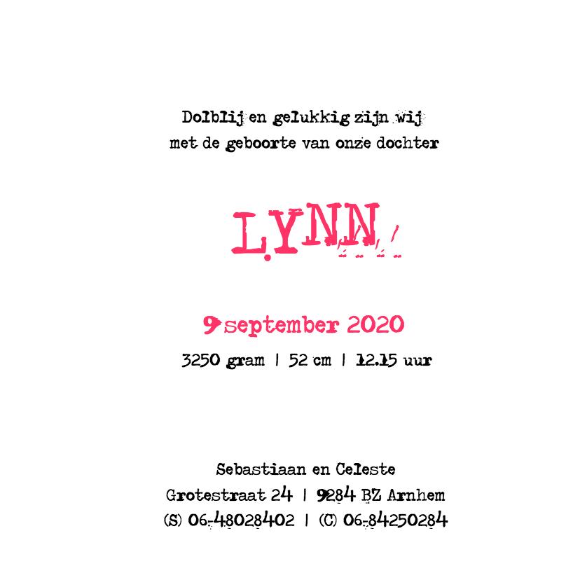 Geboortekaartje meisje Lynn 3