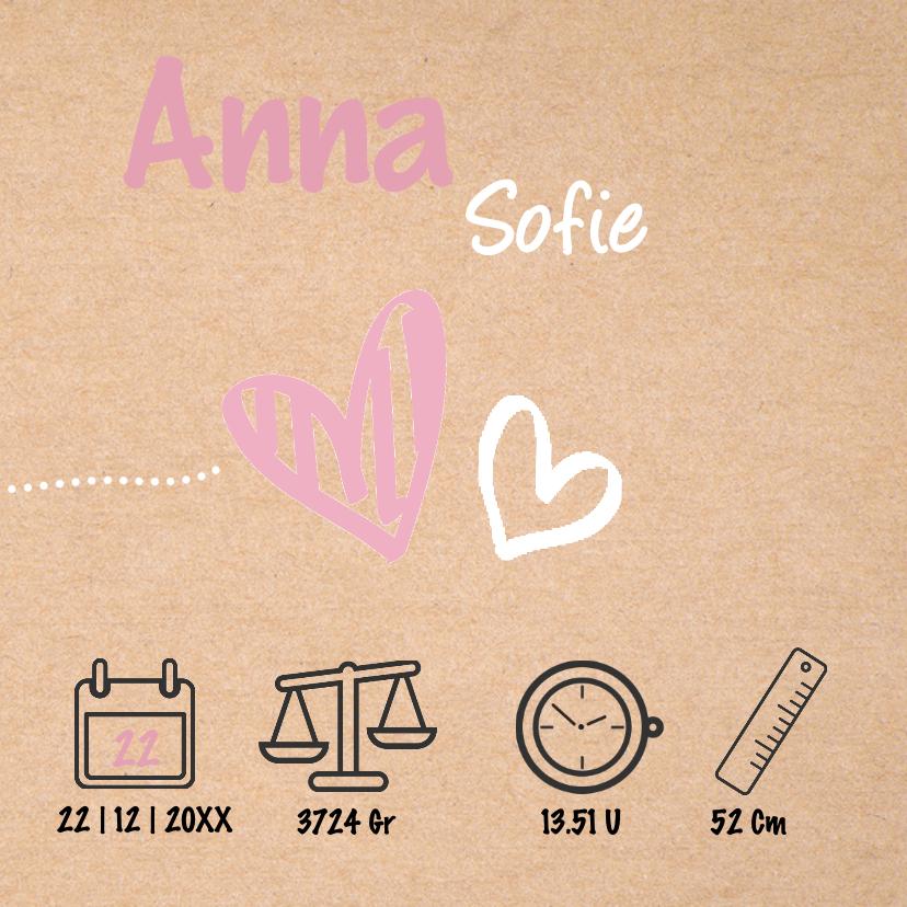 Geboortekaartje meisje met kraft achtergrond en hartjes 3
