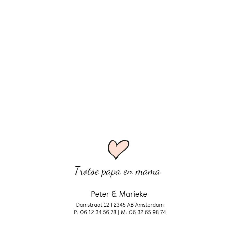 Geboortekaartje meisje met roze dots en hartje 2