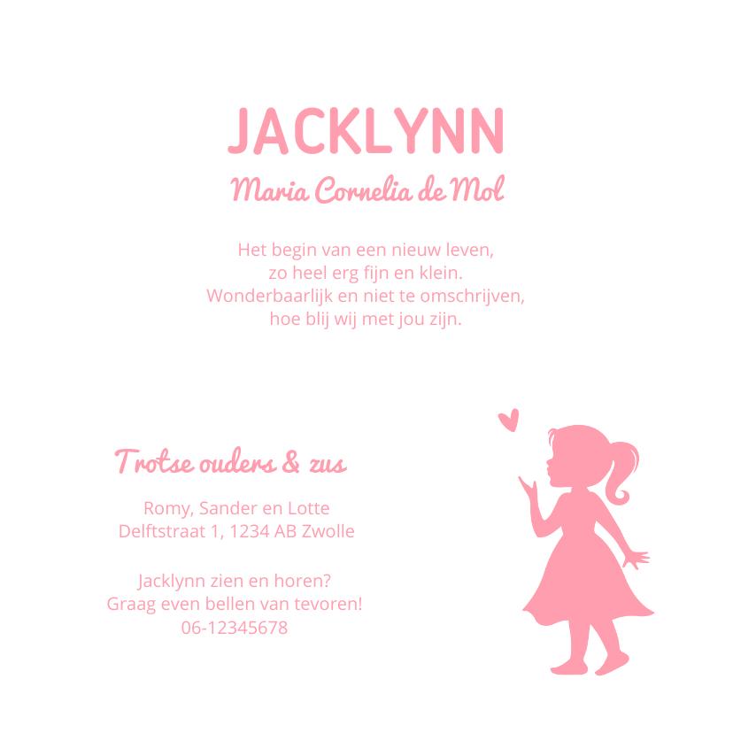 Geboortekaartje meisje met silhouet 3