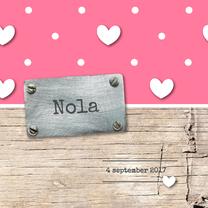 Geboortekaartjes - Geboortekaartje meisje Nola
