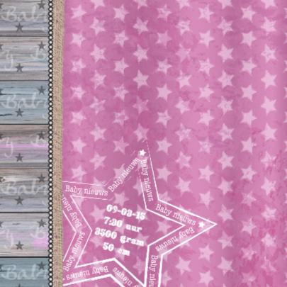 geboortekaartje meisje roze ster 2