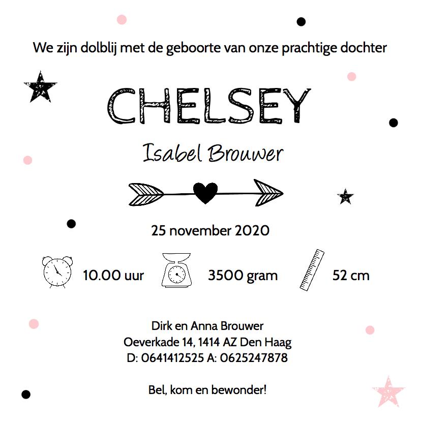 Geboortekaartje meisje slinger confetti 3