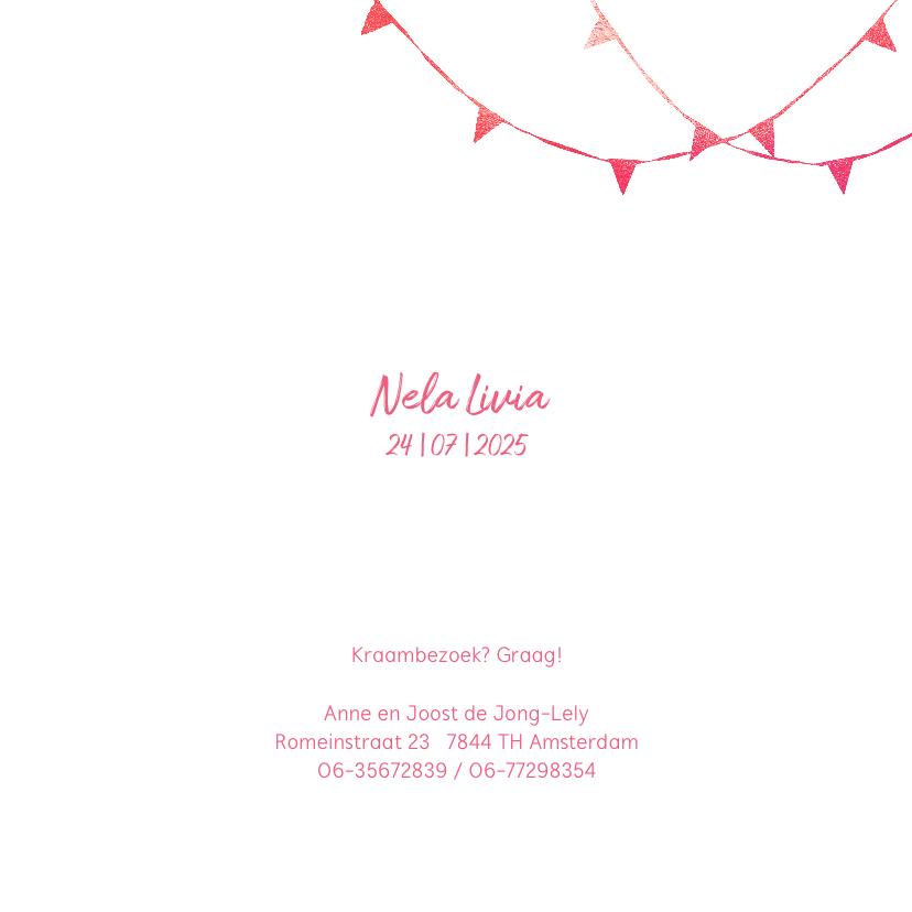 Geboortekaartje meisje strik 3