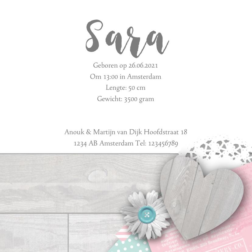 Geboortekaartje foto hart bloemen meisje 3