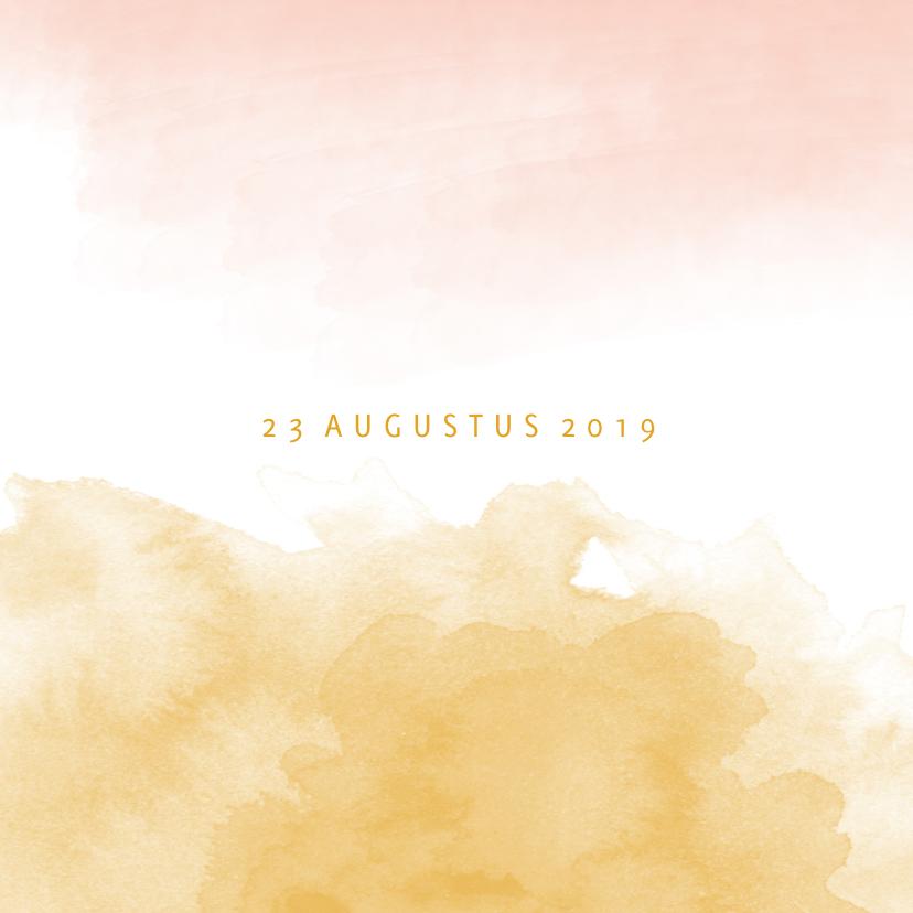 Geboortekaartje meisje waterverf oker goud en roze 2