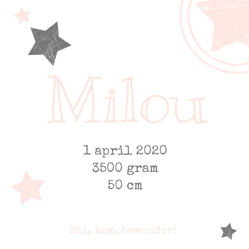 Geboortekaartje meisje wolk ster 3
