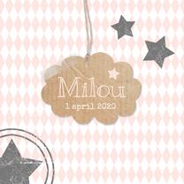Geboortekaartjes - Geboortekaartje meisje wolk ster
