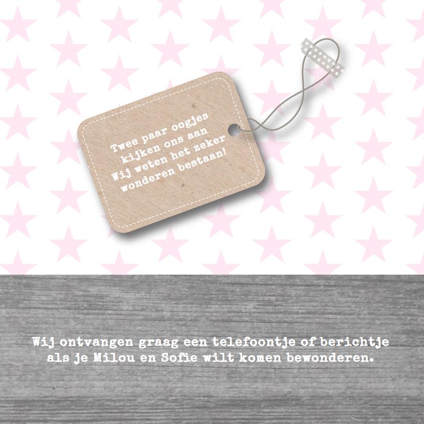 Geboortekaartje meisjes sterren 2