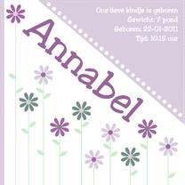 Geboortekaartjes - geboortekaartje met bloemen