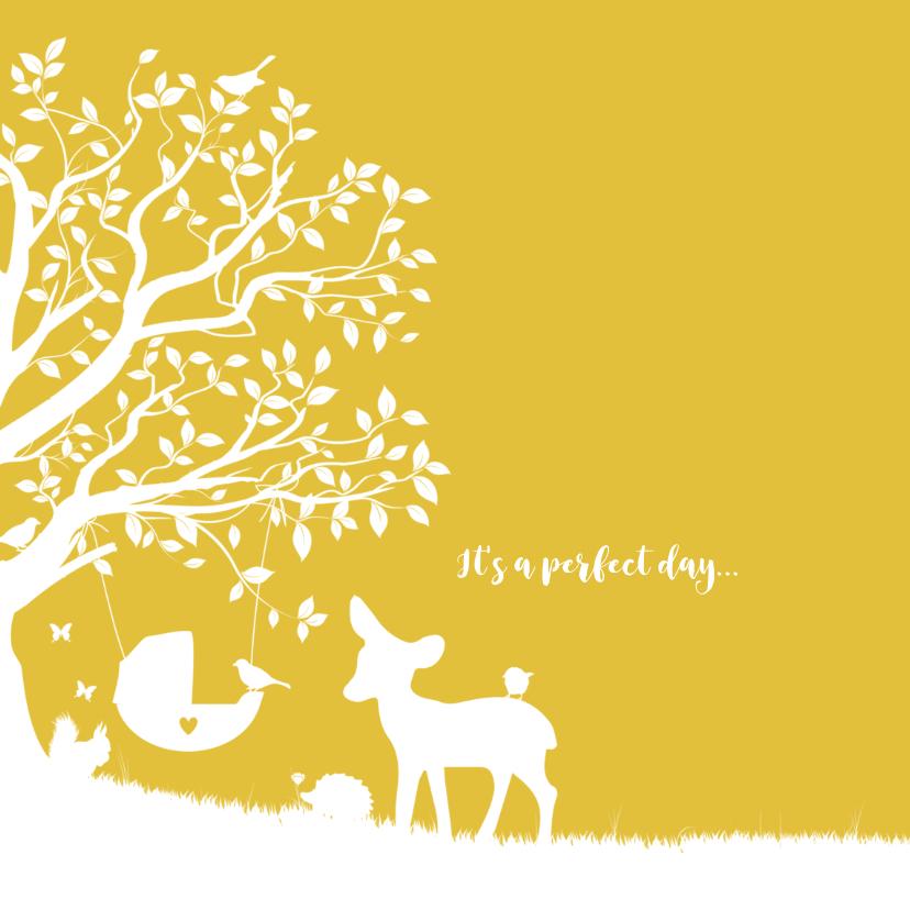 Geboortekaartje met boom, wiegje en dieren 2