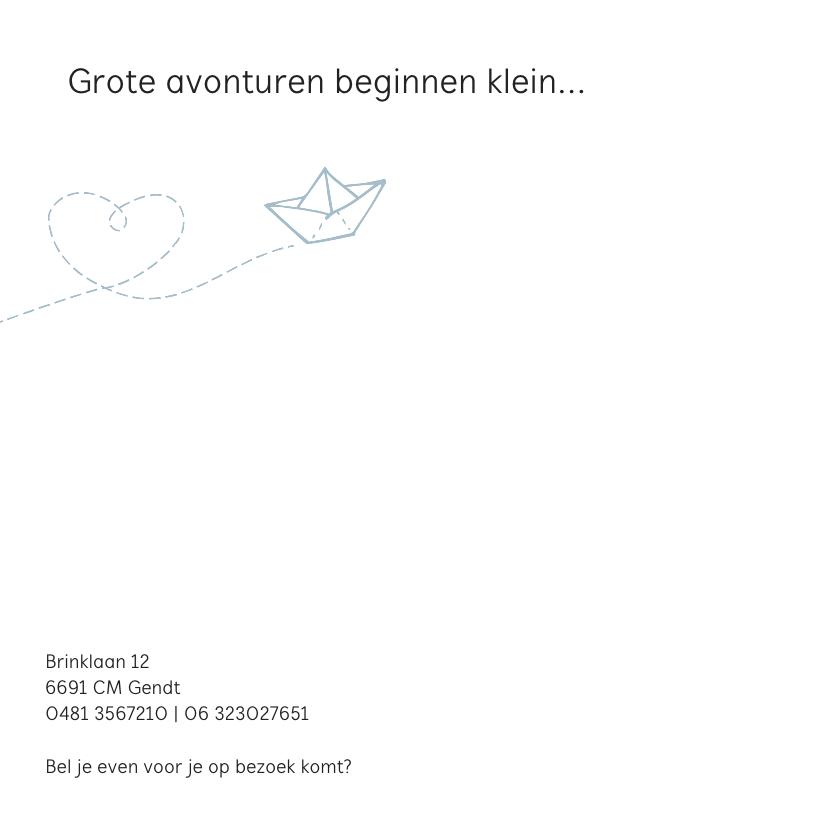 Geboortekaartje met een bootje van papier 2