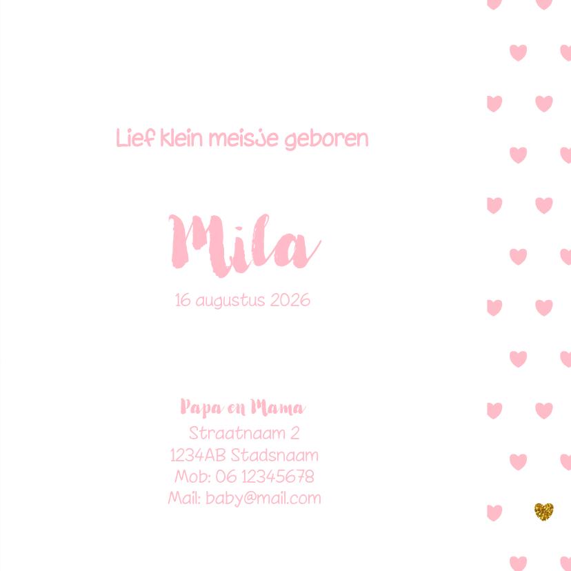 Geboortekaartje met een lief girafje en roze hartjes 3