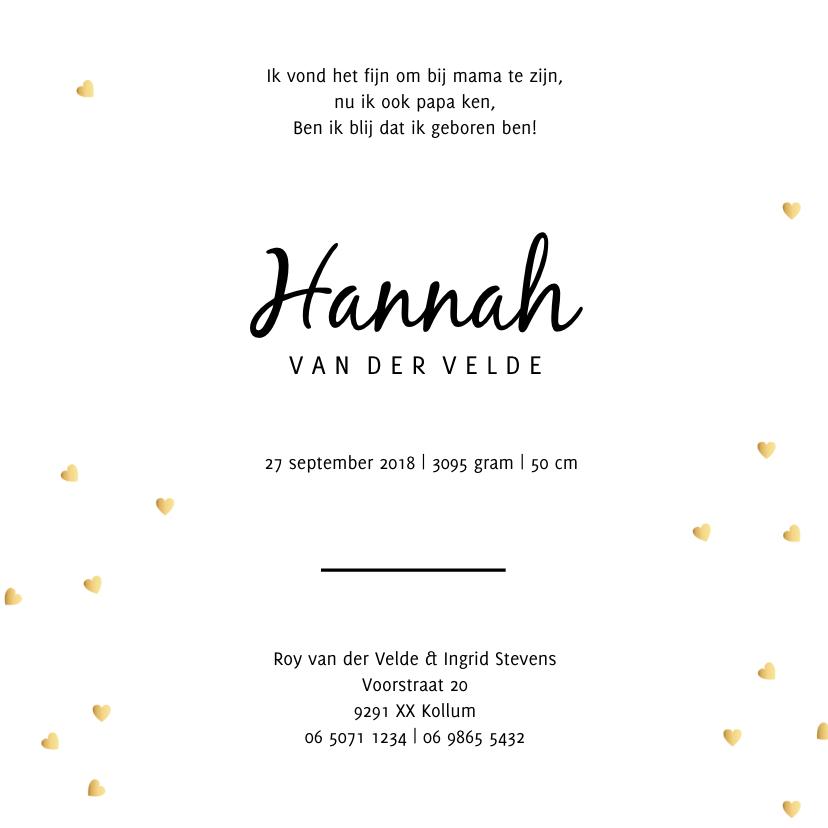 Geboortekaartje met gouden hartjes 3