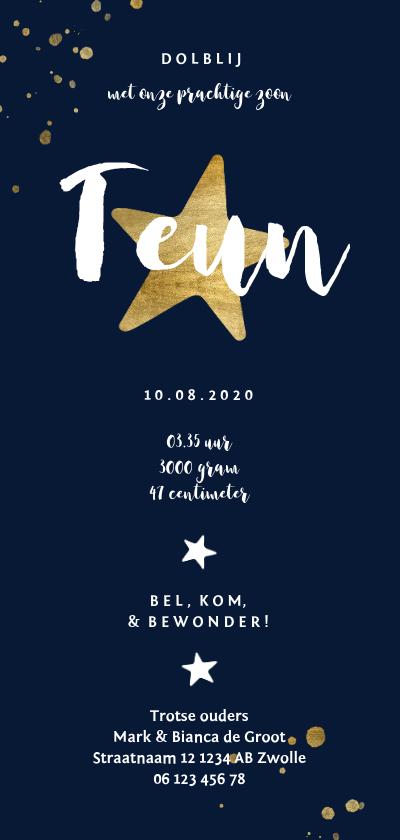 Geboortekaartje met gouden sterren en spetters Achterkant