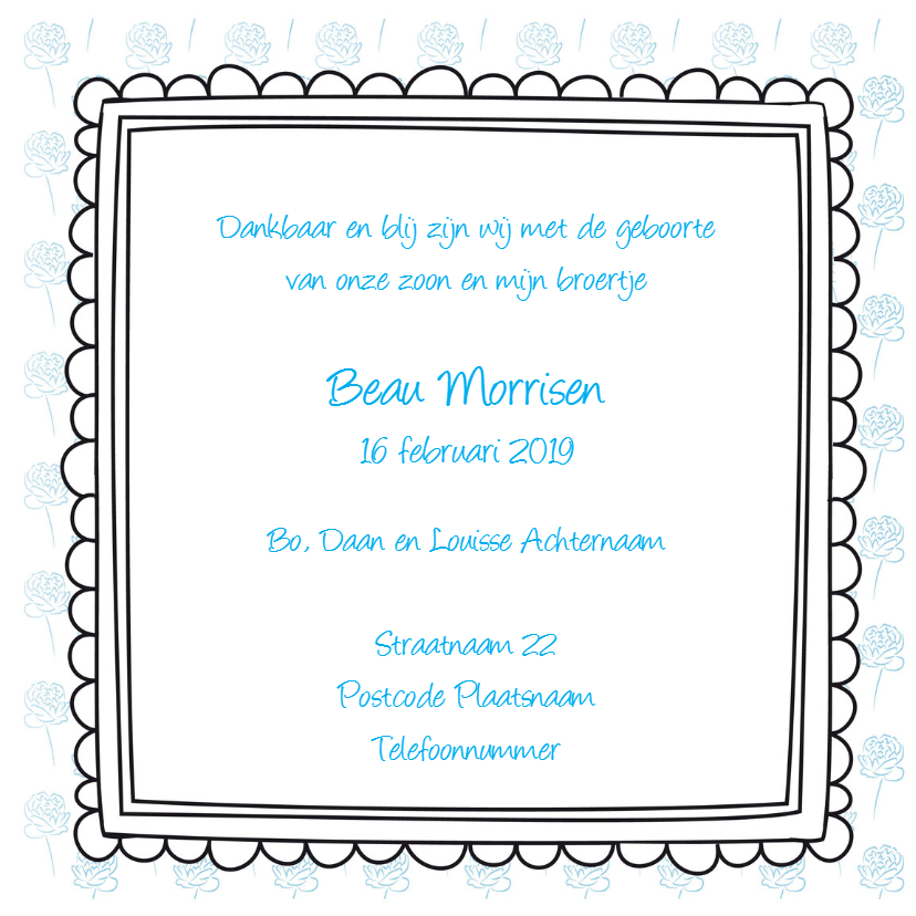 Geboortekaartje met lijstjes 3