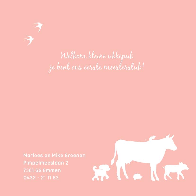 Geboortekaartje met meisje op trekker en boerderijdieren 2