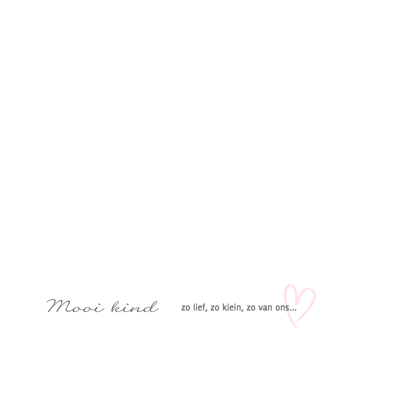 Geboortekaartje met roze hartje 2