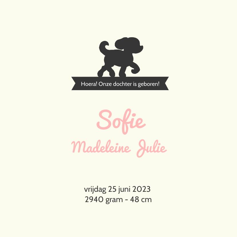 Geboortekaartje met silhouet van meisje en hondje 3
