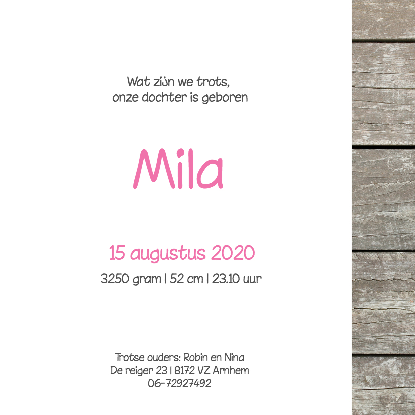 Geboortekaartje Mila 3