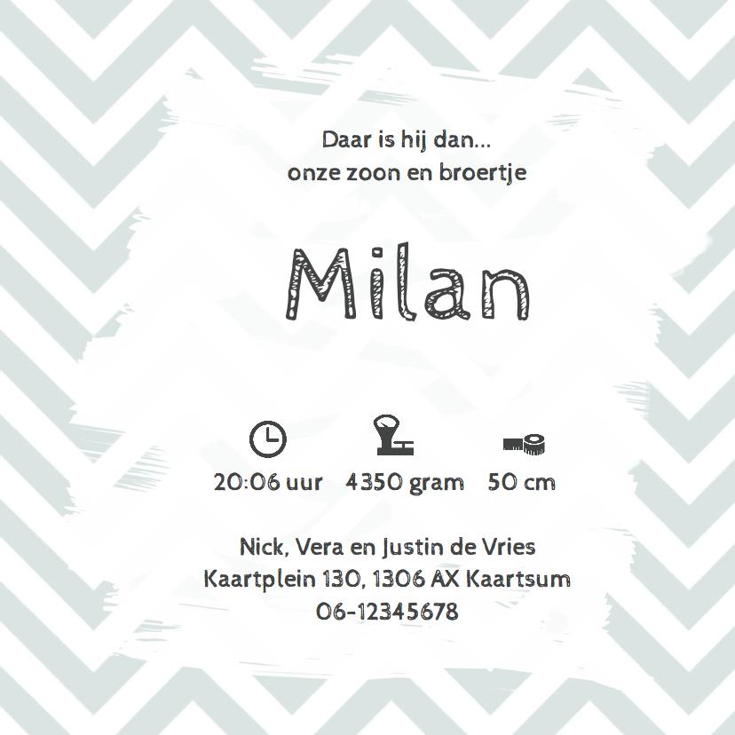 Geboortekaartje Milan chevron groen- LO 3