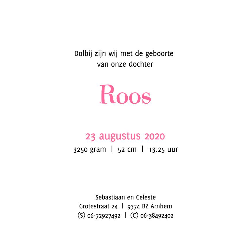 Geboortekaartje muisjes Roos 3