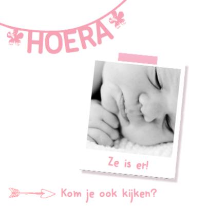 Geboortekaartje naamslinger roze 2
