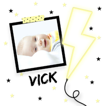 Geboortekaartjes - Geboortekaartje neon bliksem