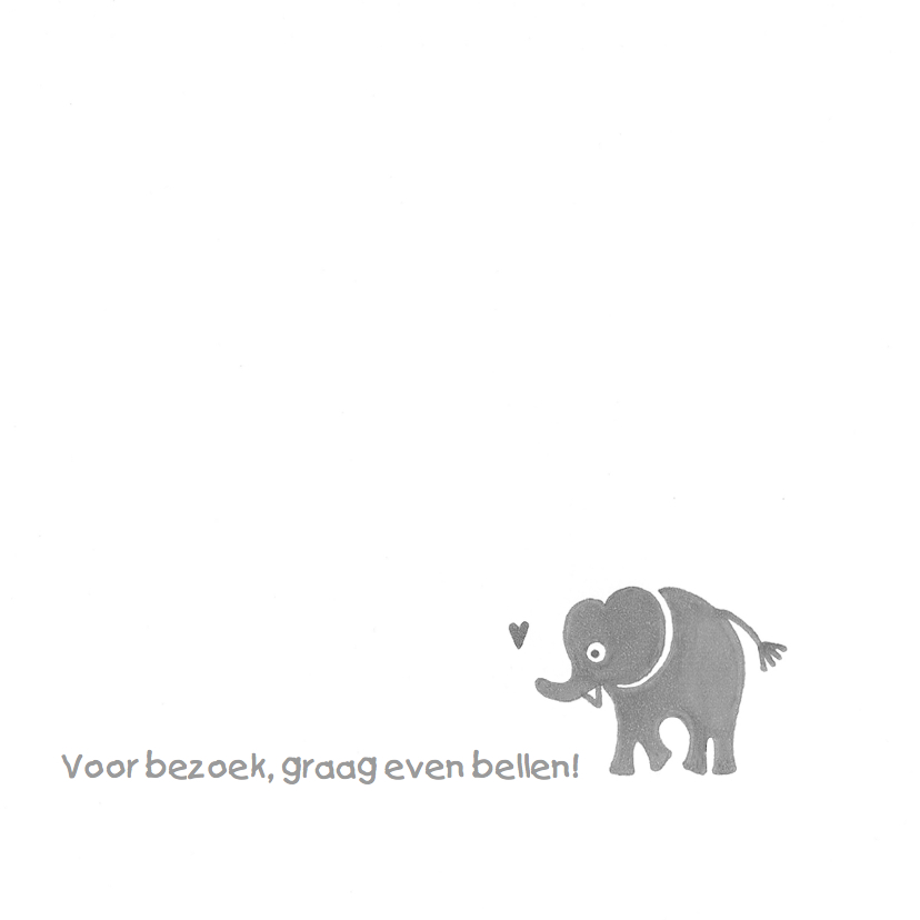 Geboortekaartje olifant hart 2