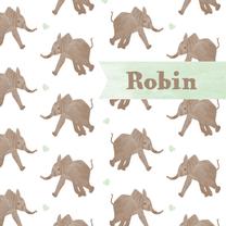 Geboortekaartjes - Geboortekaartje olifant hartjes