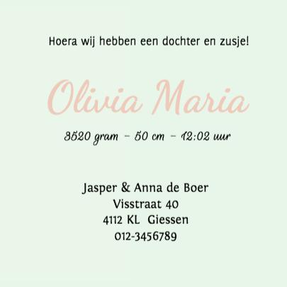 Geboortekaartje Olivia 3