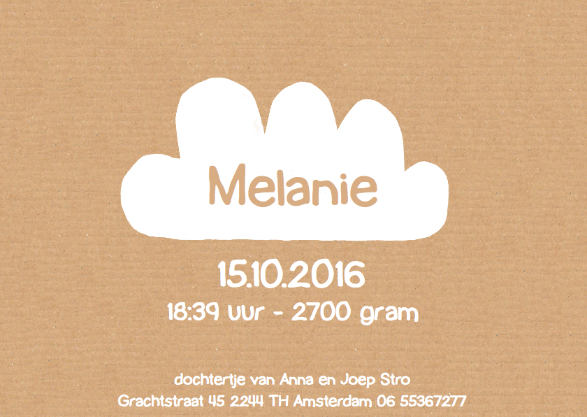 geboortekaartje ooievaar Melanie 3