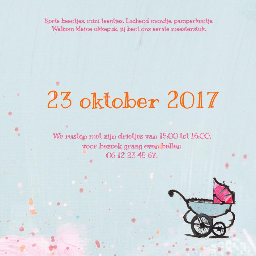 Geboortekaartje pastel wagen 3