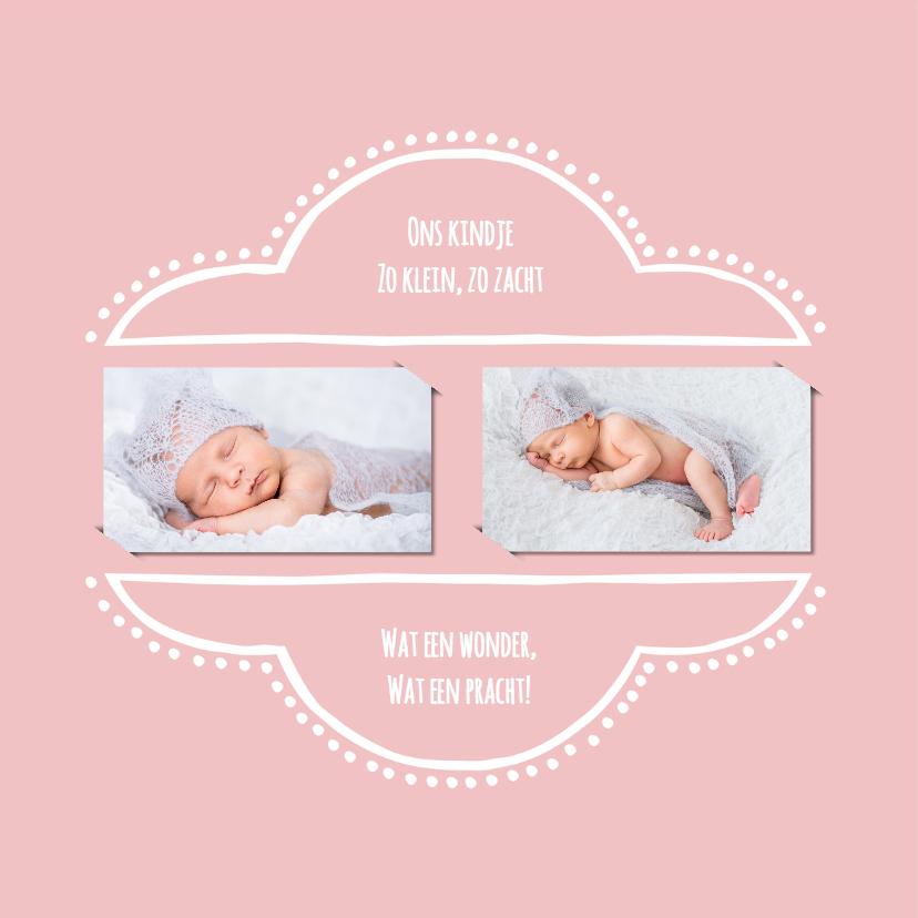 Geboortekaartje retro roze 2 OT 2